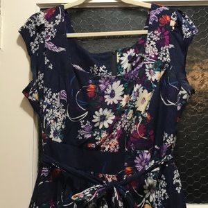 "Lady V London ""vintage"" navy floral tea dress."